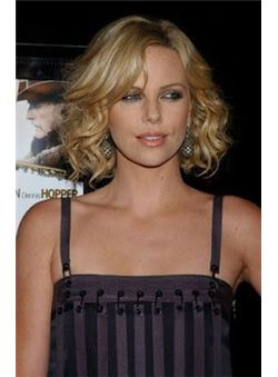 Charming 14 Inches Lace Front Blonde Silk Remy Human Hair Wigs