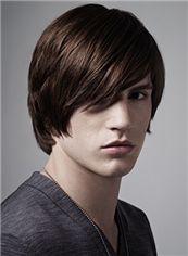 10 Inches Capless Straight Brown Virgin Brazilian Hair Short Mens Wigs