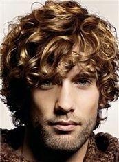 10 Inches Capless Brown Virgin Brazilian Hair Wavy Short Mens Wigs
