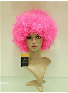 Cheap 10 Inch Capless Hot Pink Synthetic Hair Sports Fan Wigs