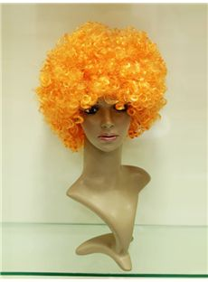 Wholesale 10 Inch Capless Orange Synthetic Hair Crazy Fan Wigs