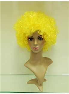 Cheap 10 Inch Capless Yellow Synthetic Hair Football Fan Wigs