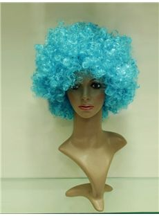 Wholesale 10 Inch Capless Cyan Synthetic Hair Soccer Wigs