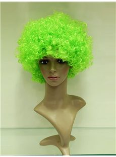 Wholesale 10 Inch Capless Lawn Green Synthetic Hair Fan Wigs