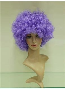 Wholesale 10 Inch Capless Purple Synthetic Hair Football Fan Wigs