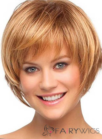 Cheap 10 Inch Capless Short Straight Brown Synthetic Hair Wigs