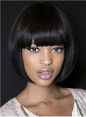 10 Inch Capless Straight Short Black Synthetic Hair Wigs