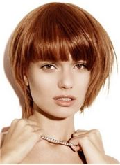 10 Inch Capless Short Straight Brown Synthetic Hair Wigs