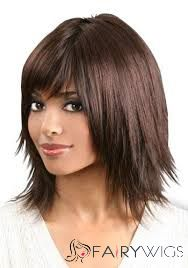 Cheap 14 Inch Capless Straight Brown Synthetic Hair Wigs