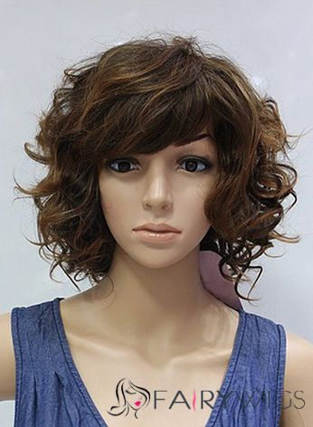 12 Inch Capless Short Wavy Brown Synthetic Wigs