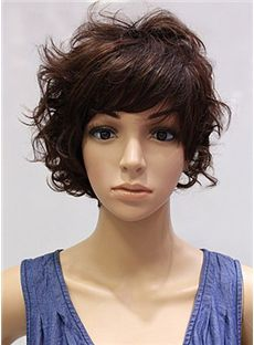 Cheap 10 Inch Capless Short Wavy Brown Synthetic Wigs