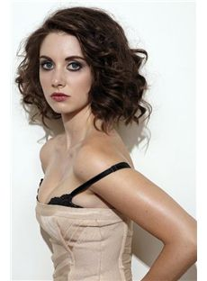 12 Inch Lace Front Wavy Brown High Temperature Fiber Wigs