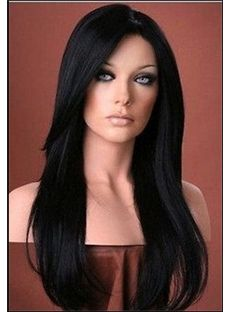 22 Inch Lace Front Straight Black Top Quality High Heated Fiber