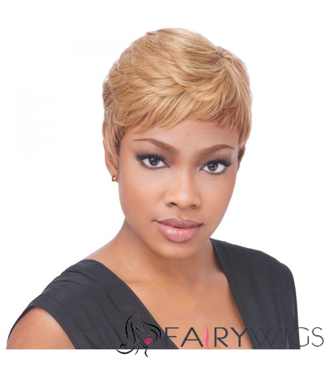 8 Inch Capless Straight Blonde Synthetic Hair Wigs