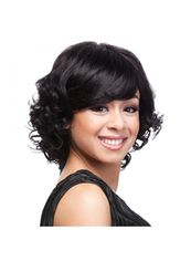 10 Inch Capless Wavy Black Synthetic Hair Short Wigs