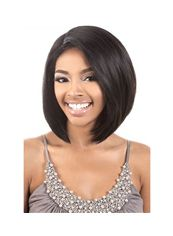 14 Inch Capless Straight Black Synthetic Hair Medium Wigs