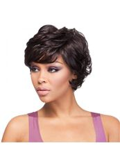 New 10 Inch Capless Wavy Black Synthetic Hair Short Wigs
