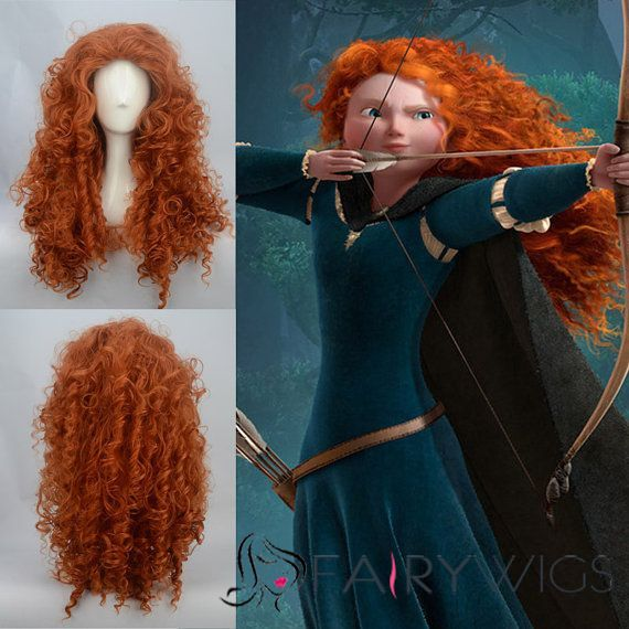 Merida's 20 Inch Capless Wavy Brown Long Synthetic Hair Costume Wigs