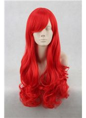 24 Inch Capless Wavy Red Synthetic Hair Costume Wigs