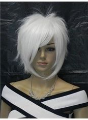 12 Inch Capless Straight White Synthetic Hair Costume Wigs