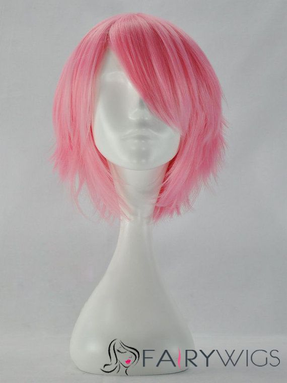 12 Inch Capless Straight Pink Synthetic Hair Costume Wigs