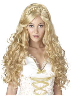 24 Inch Capless Wavy Blonde Long Synthetic Hair Costume Wigs