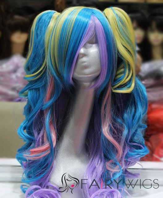 22 Inch Capless Wavy Mixed Color Synthetic Hair Long Costume Wigs