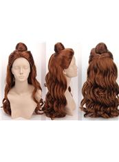 Wholesale 20 Inch Capless Wavy Brown Synthetic Hair Long Costume Wigs