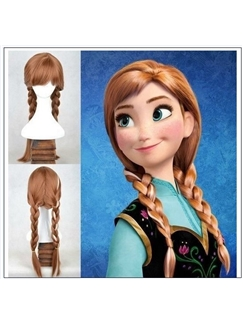 Frozen Anna's 22 Inch Capless Wavy Brown Long Synthetic Hair Costume Wigs