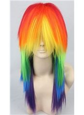 20 Inch Capless Straight Mixed Color Synthetic Hair Costume Wigs