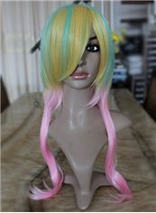 Cheap 22 Inch Capless Wavy Mixed Color Synthetic Hair Costume Wigs
