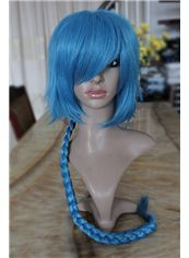 26 Inch Capless Wavy Blue Synthetic Hair Costume Wigs