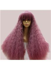 24 Inch Capless Wavy Pink Synthetic Hair Costume Wigs