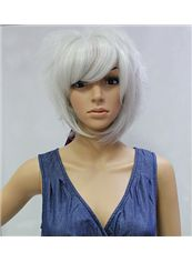 Cheap 10 Inch Capless Straight White Synthetic Hair Costume Wigs