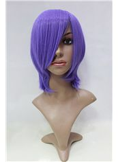 12 Inch Capless Straight Purple Synthetic Hair Costume Wigs