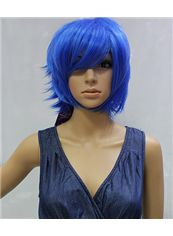 10 Inch Capless Straight Blue Synthetic Hair Costume Wigs