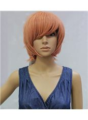 10 Inch Capless Straight Pink Synthetic Hair Costume Wigs