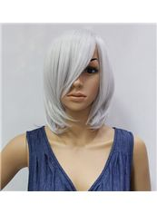 12 Inch Capless Straight White Synthetic Hair Cheap Costume Wigs