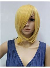 14 Inch Capless Straight Yellow Synthetic Hair Costume Wigs
