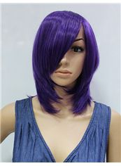 14 Inch Capless Straight Purple Synthetic Hair Costume Wigs
