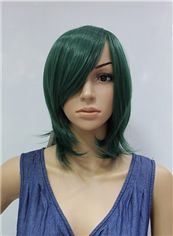 14 Inch Capless Straight Green Synthetic Hair Costume Wigs
