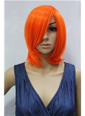 14 Inch Capless Straight Orange Synthetic Hair Costume Wigs