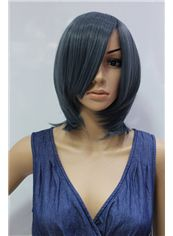 14 Inch Capless Straight Blue Synthetic Hair Costume Wigs