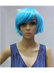 Cheap 10 Inch Capless Straight Blue Synthetic Hair Costume Wigs