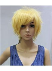 Cheap 10 Inch Capless Straight Yellow Synthetic Hair Costume Wigs