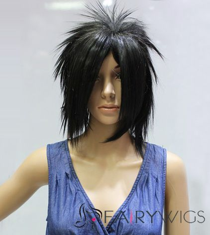 Cheap 14 Inch Capless Straight Black Synthetic Hair Costume Wigs