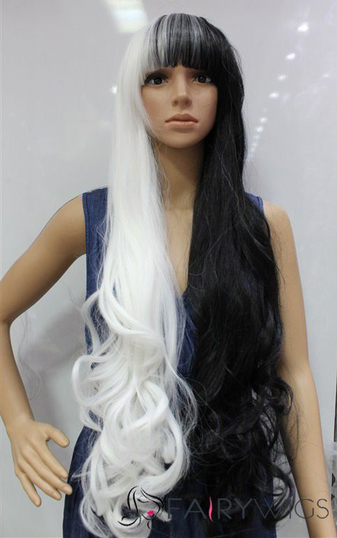 30 Inch Capless Wavy Mixed Color Synthetic Hair Costume