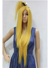 38 Inch Capless Straight Blonde Synthetic Hair Cheap Costume Wigs
