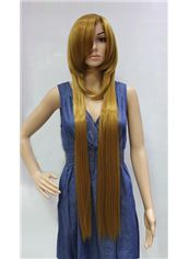 Cheap 38 Inch Capless Straight Blonde Synthetic Hair Costume Wigs