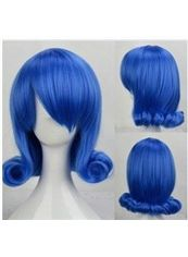 12 Inch Capless Wavy Blue Synthetic Hair Costume Wigs